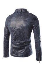 Imitating Snakeskin Men's Motorcycle Leather Jacket (Navy Blue) (Intl)