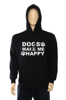 IndoClothing Hoodie Dogs Make Me Happy - Hitam