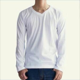 Harga Irfan Store Kaos Polos Lengan Panjang V Neck Putih Pricenia Com