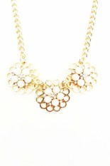 Istana Accessories Chain Pearl Flower Fashion Necklace - Gold