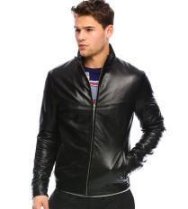 J-Brille Men Semi Leather Jacket - Simple Casual - Hitam