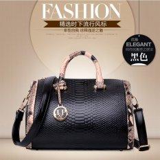 J.L.I Women Snakeskin Pattern Genuine Leather Boston Handbag Black