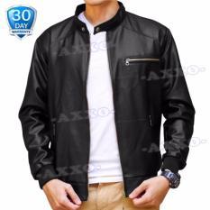 Jaket Kulit Jaket Pria - Fashion Men's Synthetic Leather Jacket - Hitam