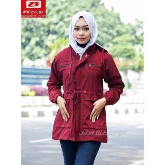 Harga Jaket Parka Wanita   Cewek Blessher Warna Merah Maroon Premium ... 1f74b4c8c0