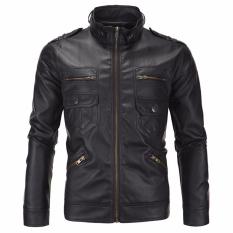 Jaket Pria - Leather Jacket Trend Bikers - Hitam