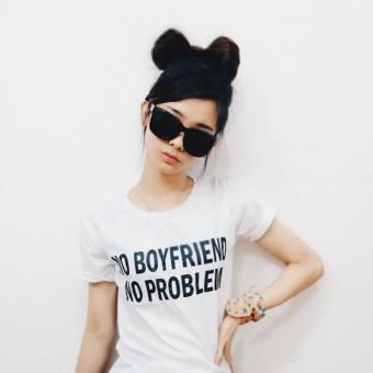 JCLOTHES Tumblr Tee / Kaos Cewe / Kaos Wanita No Boyfriend No Problem - Putih