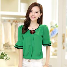 Jfashion Blus Fashion Korean Style With Bross - Hijau
