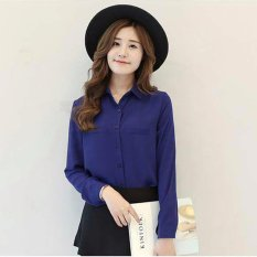 Jfashion Korean Style Plain Shirt Long SLeeve - Ummi Biru