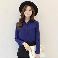 Jfashion Korean Style Plain Shirt Long SLeeve - Ummi Biru