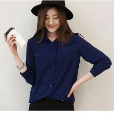 Jfashion Korean Style Plain Shirt Long SLeeve - Ummi Navy