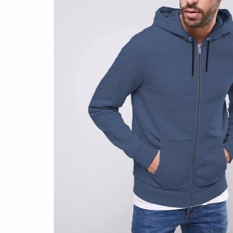 Jfashion Men's Hoodie Jacket With Zipper - Novan Biru