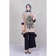Jfashion New Wide Long Tunik Print Beludru 3/4 Sleeve - Arimbi Krem