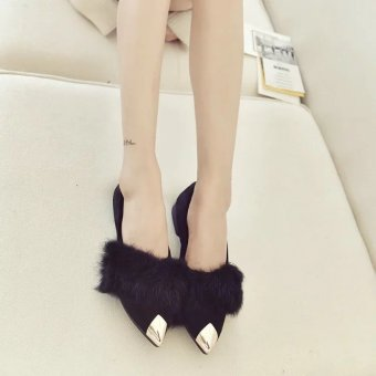 New style pointed suede high Source Jianyue rabbit fur autumn Korean style flat .
