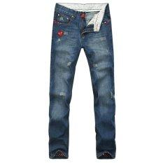 JIEYUHAN Mens Washed Slim Destroyed Denim Pant Distressed Ripped Skinny Jeans - Intl