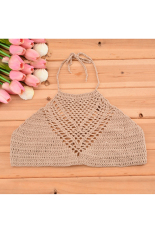 CatWalk Stylish New Fashion Lady Women Halter Backless Sexy Hollow Out Lace Crochet Bustier Crop Tops Tees Bra Top One Size (Khaki) (Intl)
