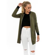 JinGLE Women Zip Up Long Sleeve Stand Collar Bomber Jacket (Army Green) - Intl
