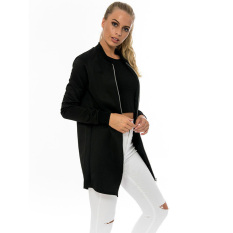 JinGLE Women Zip Up Long Sleeve Stand Collar Bomber Jacket (Black) - Intl