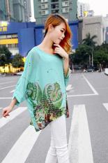 CatWalk Women's Sexy Batwing Sleeve Chiffon Shirt Bohemian Tops Blouse Plus Size L-XL (Deep Green) (Intl)