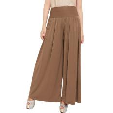 JO & NIC Celana Wanita Kulot Allsize Pleated Long Culotte Pants - Fit to Big Size - Caramel