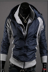 GE Men's Slim Fit Sexy Hoodies Coats Jackets Double Zipper 2 Colors 4 Size (Blue)