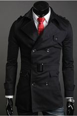 GE Men's Stylish Double Breasted Long Trench Coat Jacket Windbreak 2 Colors (Black)