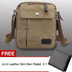 Sunweb Men Messenger Bag Canvas Vintage Shoulder Crossbody Bags Outdoor Travel Bag (Brown)