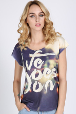 GE New Vintage Summer Women's Short Sleeve Graphic Printed T-Shirt Tee Blouse Tops 9#