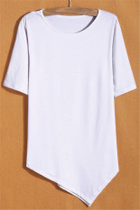 GE Summer Women O-Neck Short Sleeve Solid T-Shirt Casual Loose Irregular Hem T-Shirt Tops S-L (White)