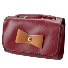 Jo.In Women's Bow Mini Tote Clutch Handbag Shoulder Bag Cross Bag Wine Red - Intl