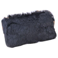 GE Women's Clutch Bag Faux Fur Handbag Wallet Clutch Black