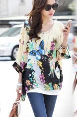 Jo.In Women's Sexy Batwing Sleeve Chiffon Shirt Bohemian Tops Blouse Plus Size L-XL (Multicolor)