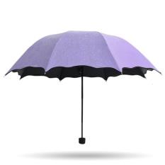 JOJO Umbrella Rain Or Shine Umbrella Folding Female Korean Dual Sunumbrella Sunscreen Uv Small Fresh Creative Sun Umbrella (Violet) - intl