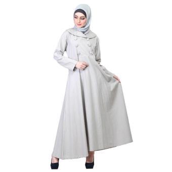 Jual Gamis / Busana Muslim Wanita | Inficlo - SFT 716 | WARNA : ABU | BAHAN : CANVAS