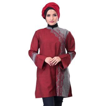 Jual Sarimbit / Busana Muslim Couple Wanita | Inficlo - SGB 491 | WARNA : MARUN | BAHAN : COTTON