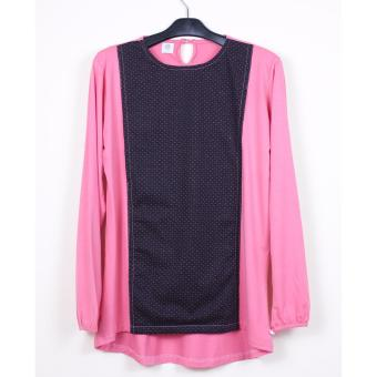 Just Mom Baju Menyusui GEA 119, Black pattern, Pink