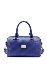 JUST STAR High Quality Faux Synthetic Leather Purse Boston Bag Satchel Tote Handbag Embossing Women New (Blue)