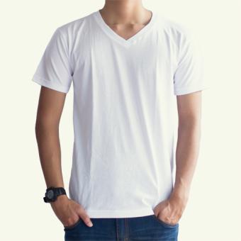 Kaos Oblong 30S Polos Lengan Pendek V-Neck Unisex T-Shirt - Putih