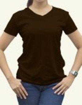 Kaos Oblong Lengan Pendek V-Neck Unisex T-Shirt Polos - Coklat