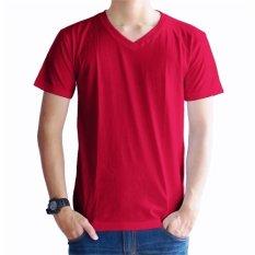 Kaos Oblong Polos Lengan Pendek V-Neck Unisex T-Shirt - Merah