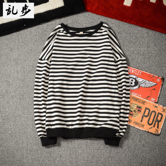 Kaos Oblong Pria Lengan Panjang Pullover Longgar Bergaris Hitam Putih (Garis -garis sweater hitam