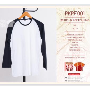 Kaos Polos hijab RAGLAN WHITE-BLACK PJG 30s
