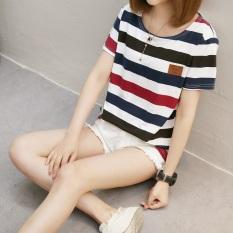Kaos Wanita Lengan Pendek Kerah Bulat Motif Garis Model Longgar (579 * dan garis-garis merah)
