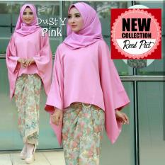 Kembar Kebaya Batwing Tamara Plus Rok Lilit Batik Warna Pink Dusty