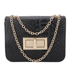 KGS Tas Pesta/Formal Wanita Embossed Snake Leather Shoulder Bag - Hitam
