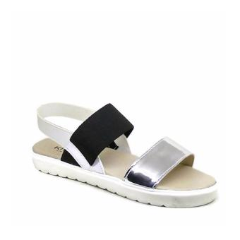 Khalista Collections Double Strap Sling Back Sandals Casual Flatform - Silver
