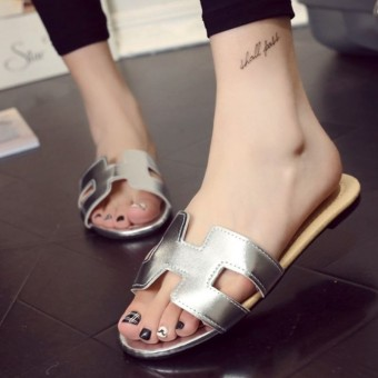 Khalista Collections Flats Sandal Loafers Flip Flops Synthetis Leather - Silver