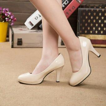 Khalista Collections Heels Women Glossy Roundtoe Flatform Pantofel - Cream