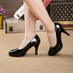 Khalista Collections Heels Women Glossy Roundtoe Flatform Pantofel - Hitam