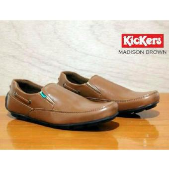 Kickers Sepatu Peria Casual Kerja Formal Slip On Men - Coklat
