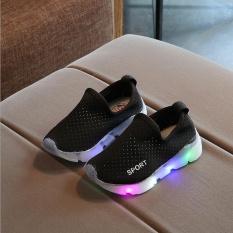 Kid's Girl's Boy Child's Slip-On LED Lights Up Breathable Casual Running Sport Shoes I122 Black - intl